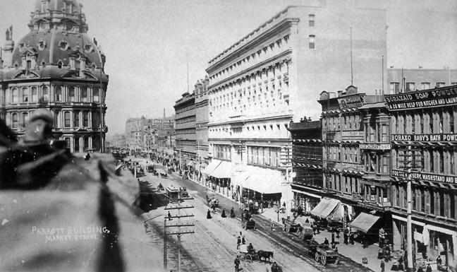 Market near Powell, circa 1898