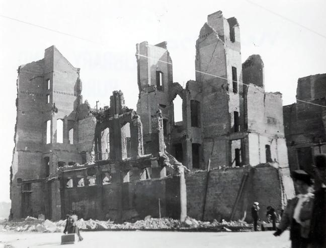 Odd Fellows Hall in ruins.